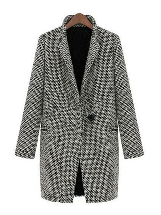 Women's Going out / Work Vintage / Street chic Plus Size Coat - Round Dots, Print Peter Pan Collar / Winter
