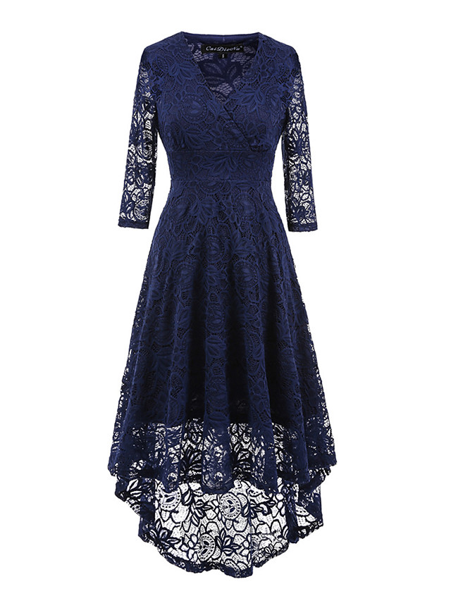 Women's Knee Length Dress Black Sheath Dress - 3/4 Length Sleeve Solid Colored Lace Spring Summer V Neck Vintage Holiday Going out Asymmetrical Wine Black Navy Blue S M L XL XXL