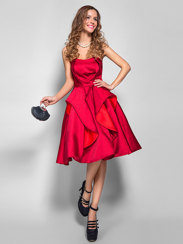 Back To School A-Line 1950s Holiday Homecoming Cocktail Party Dress Strapless Sleeveless Knee Length Satin with Pleats 2020 / Prom Hoco Dress