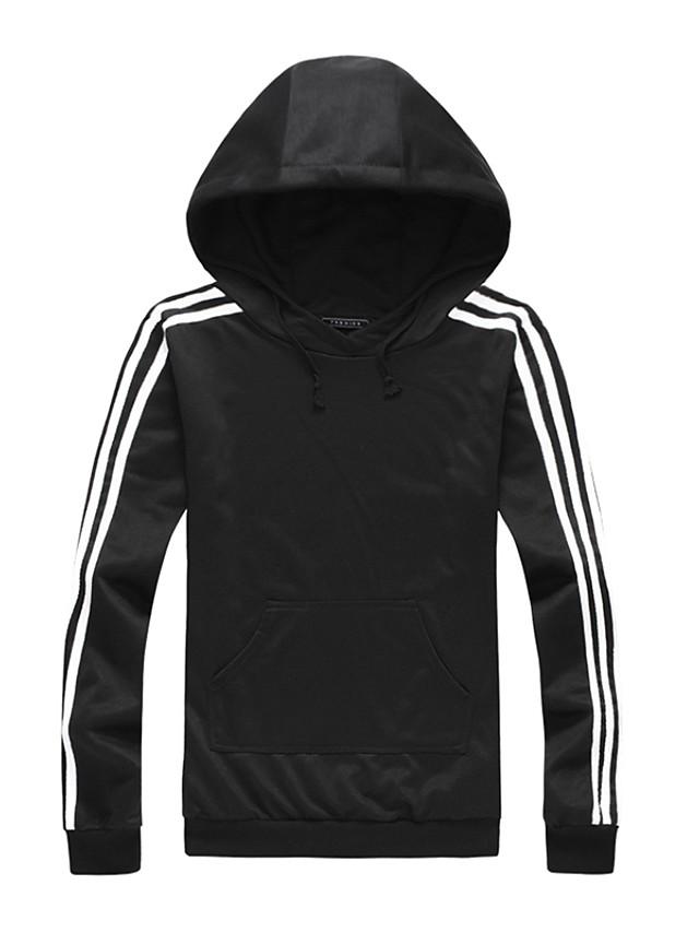 Men's Hoodie Striped Stripe Hooded Simple Sports - Long Sleeve Black Blue Red Green / Fall / Winter