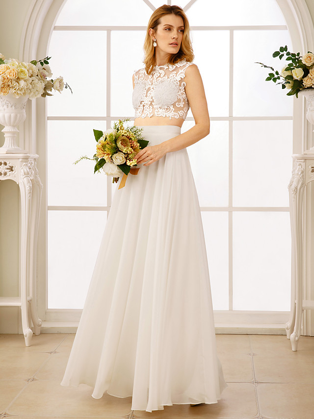 Princess Two Piece Wedding Dresses Jewel Neck Floor Length Chiffon Sleeveless See-Through Beautiful Back Crop Top with Appliques 2020