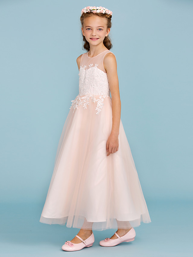 A-Line / Princess Jewel Neck Ankle Length Lace / Tulle Junior Bridesmaid Dress with Appliques / Sash / Ribbon / Wedding Party / Open Back
