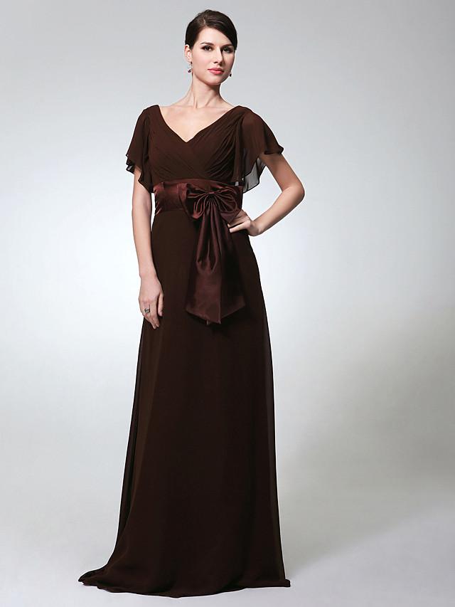 Sheath / Column Elegant Formal Evening Military Ball Dress V Neck Short Sleeve Floor Length Chiffon with Sash / Ribbon Bow(s) 2020