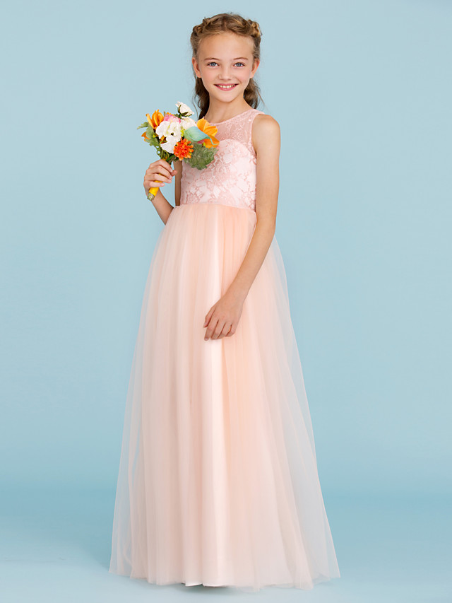 A-Line / Princess Crew Neck Floor Length Lace / Tulle Junior Bridesmaid Dress with Pleats / Wedding Party / See Through