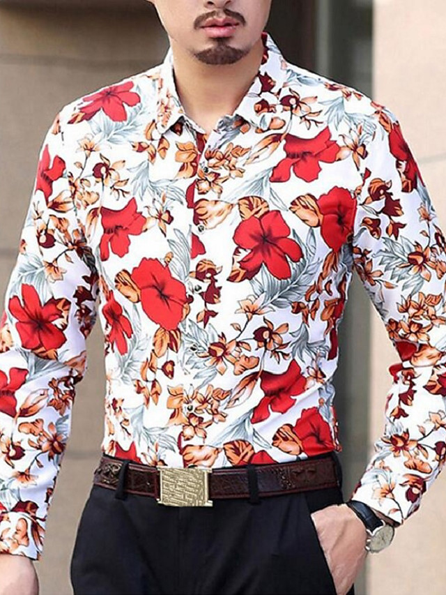 Men's Party / Daily Cotton / Polyester Shirt - Floral / Long Sleeve