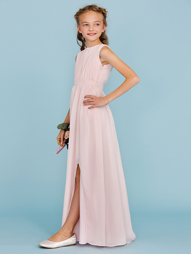 Sheath / Column Crew Neck Floor Length Chiffon Junior Bridesmaid Dress with Draping / Sash / Ribbon / Split Front / Wedding Party / Furcal