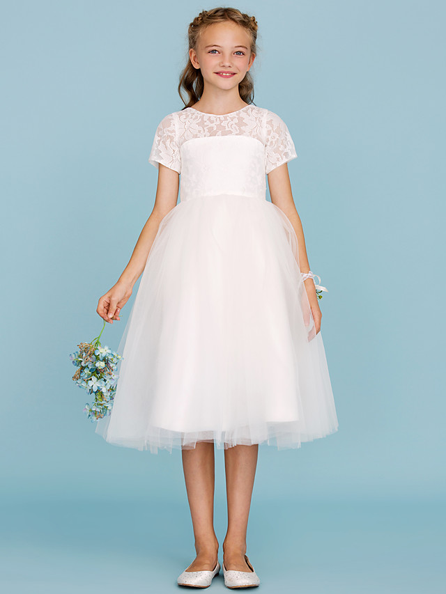 Ball Gown Crew Neck Knee Length Lace / Tulle Junior Bridesmaid Dress with Pleats / Wedding Party