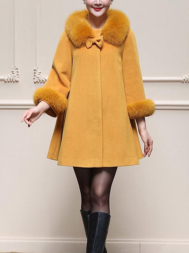 Mujer Simple / Casual / Chic de Calle Tallas Grandes Abrigo Cuello de Peter Pan - Un Color, Lana Lazo / Invierno / Detalles en Piel