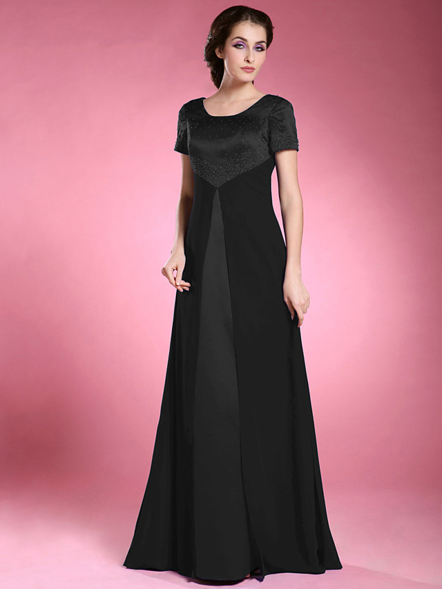 A-Line Mother of the Bride Dress Elegant Scoop Neck Floor Length Chiffon Satin Short Sleeve with Beading 2020