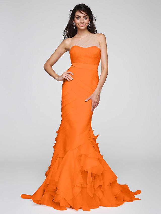 Mermaid / Trumpet Elegant Pastel Colors Formal Evening Black Tie Gala Dress One Shoulder Sleeveless Sweep / Brush Train Organza Tulle with Sash / Ribbon Cascading Ruffles 2020