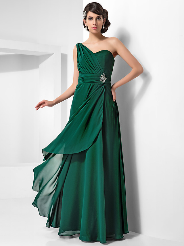 Sheath / Column Open Back Formal Evening Military Ball Dress One Shoulder Sleeveless Floor Length Chiffon with Ruched Crystals Draping 2020