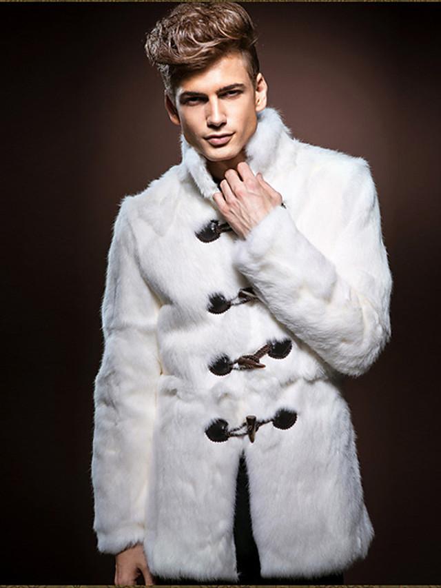 Homens Diário Outono / Inverno Tamanhos Grandes Padrão Casaco de Pêlo, Sólido Colarinho Chinês Manga Longa Pêlo Sintético Branco / Solto