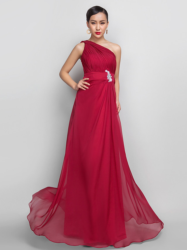 A-Line Open Back Prom Formal Evening Dress One Shoulder Sleeveless Floor Length Chiffon with Appliques Side Draping 2020