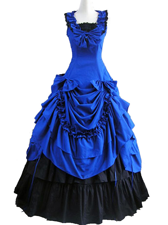 Victorian Medieval 18th Century Dress Party Costume Masquerade Women's Cotton Costume Black / Sky Blue / Blushing Pink Vintage Cosplay Party Prom Sleeveless Ankle Length Long Length Ball Gown Plus
