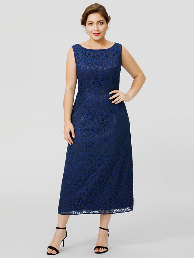 Sheath / Column Bateau Neck / Jewel Neck Tea Length Chiffon / All Over Lace Sleeveless Classic & Timeless / Elegant & Luxurious / Plus Size Mother of the Bride Dress with Lace Mother's Day 2020