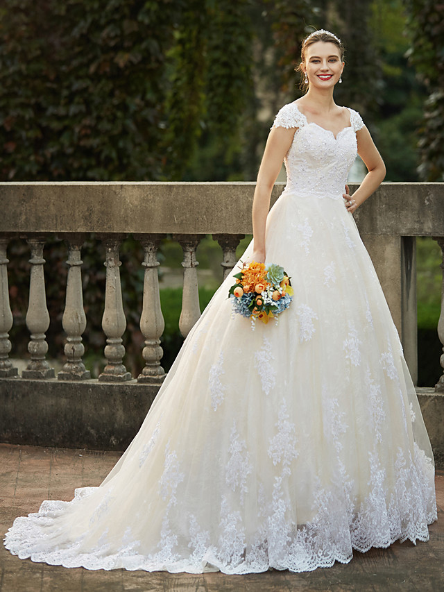 Ball Gown Wedding Dresses Square Neck Cathedral Train Lace Over Tulle Cap Sleeve Vintage Sparkle & Shine with Beading Appliques 2020