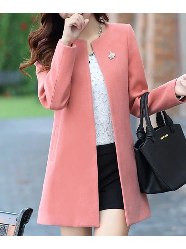 Women's Winter Coat Going out Regular Solid Colored Yellow / Blushing Pink / Fuchsia S / M / L