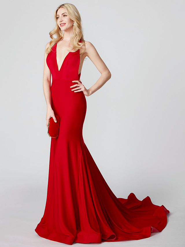 Mermaid / Trumpet V Neck Court Train Jersey Holiday / Cocktail Party / Formal Evening Dress with Pleats 2020