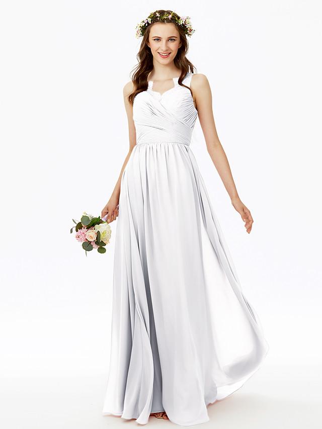 A-Line V Neck Floor Length Chiffon Bridesmaid Dress with Lace / Criss Cross / Pleats