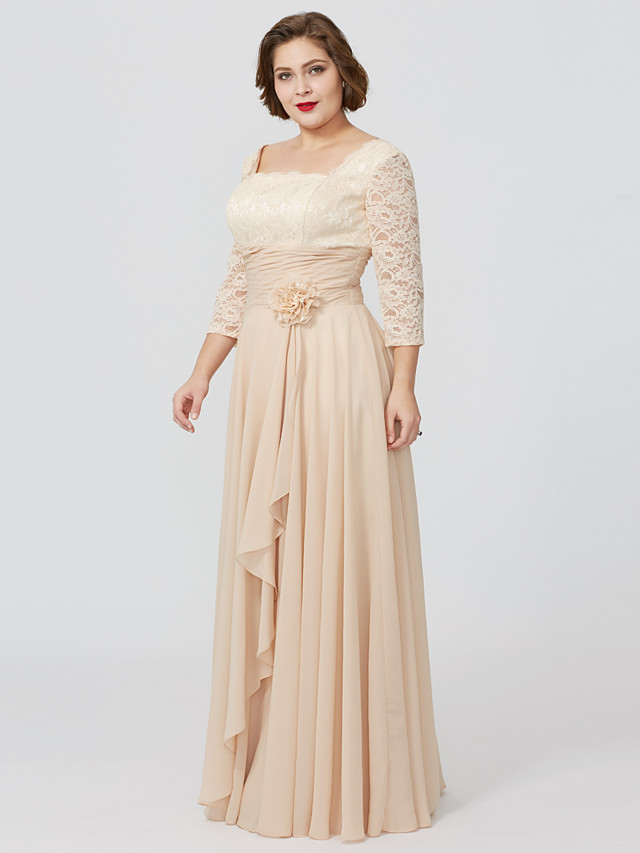 Sheath / Column Square Neck Floor Length Chiffon / Metallic Lace 3/4 Length Sleeve Classic & Timeless / Elegant & Luxurious / Floral Mother of the Bride Dress with Sash / Ribbon / Flower Mother's Day