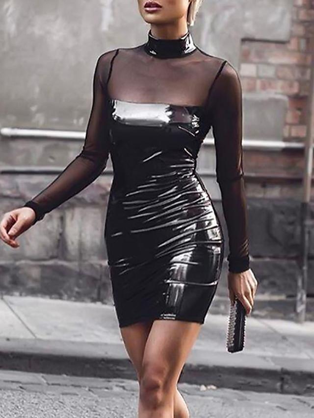 Жен. Для клуба Уличный стиль Обтягивающие Облегающий силуэт Платье - Однотонный, Сетка Мини / Сексуальные платья