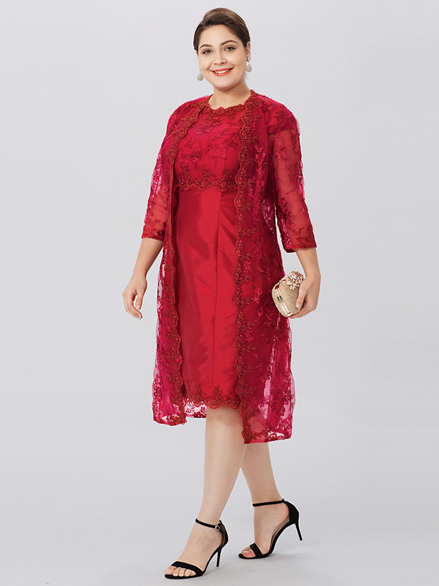 Sheath / Column Jewel Neck Knee Length Taffeta / All Over Lace 3/4 Length Sleeve Classic & Timeless / Elegant & Luxurious / Plus Size Mother of the Bride Dress with Appliques Mother's Day 2020