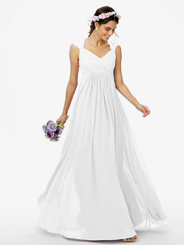 Sheath / Column Queen Anne Floor Length Chiffon / Corded Lace Bridesmaid Dress with Lace / Pleats / See Through