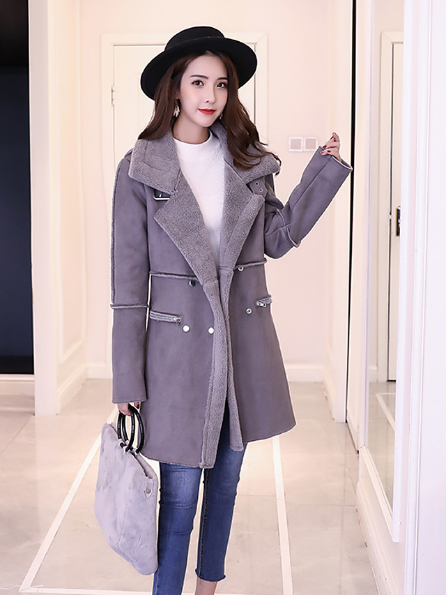 Women's Daily / Going out Street chic Fall / Winter Long Coat, Solid Colored Peak Long Sleeve Cashmere / Wool / Polyester Modern Style Brown / Blushing Pink / Gray