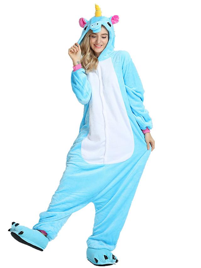 Crianças Adulto Pijamas Kigurumi Unicórnio Cavalo Voador Pónei Pijamas Macacão Mink Velvet Branco / Preto / Roxo Cosplay Para Para Meninos Para Meninas Homens e Mulheres Pijamas Animais desenho