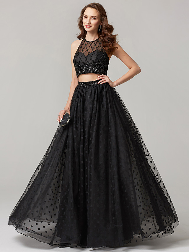 A-Line Two Piece Beaded & Sequin Holiday Cocktail Party Prom Dress Jewel Neck Sleeveless Floor Length Tulle with Lace Sequin 2020 / Formal Evening