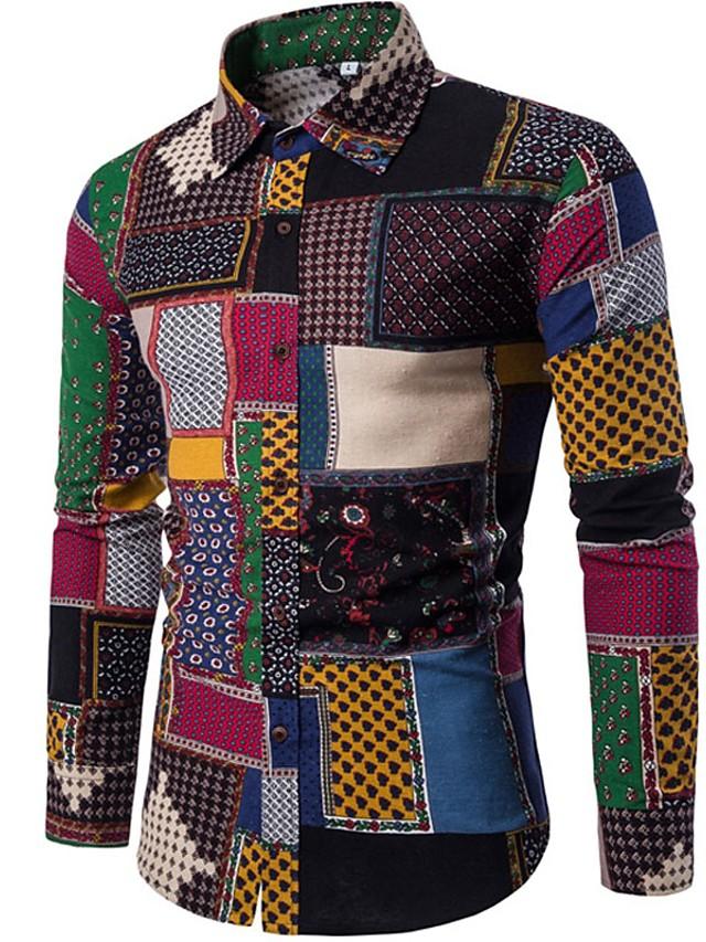 Men's Shirt Floral Plaid Paisley Long Sleeve Tops Vintage Boho Black Red Blushing Pink