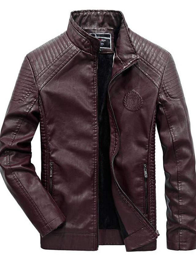 Men's Daily / Work / Weekend Military Fall / Winter Regular Leather Jacket, Solid Colored Stand Long Sleeve PU / Rayon Wine / Black / Brown / Slim