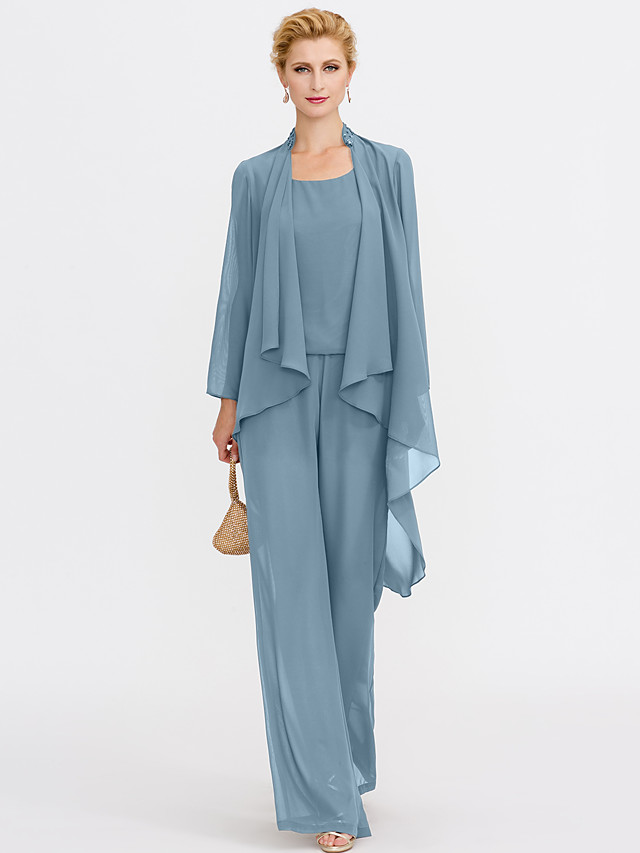 Jumpsuits Sheath / Column Mother of the Bride Dress Elegant Two Piece Jumpsuits V Neck Floor Length Chiffon Sleeveless with Pleats 2020