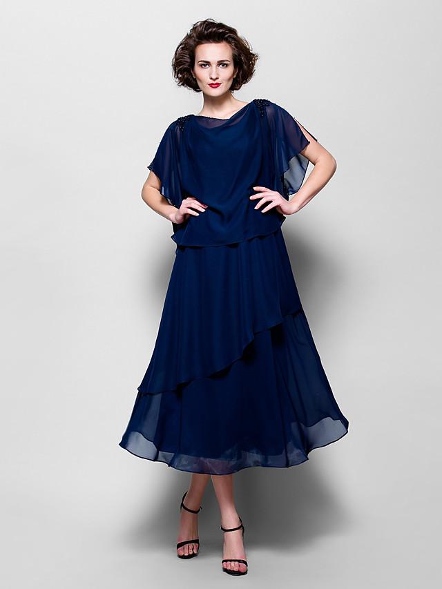 A-Line Mother of the Bride Dress Elegant Plus Size Cowl Neck Tea Length Chiffon Short Sleeve with Ruffles 2020 / Split