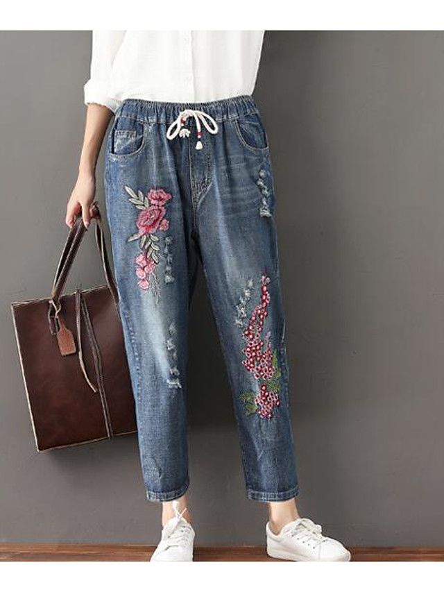 Women's Jeans Pants - Embroidery Print Blue XL / Going out