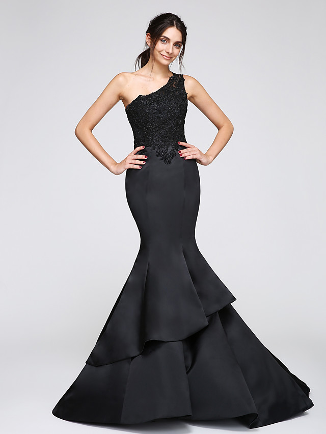 Mermaid / Trumpet Formal Evening Dress One Shoulder Sleeveless Chapel Train Satin with Appliques 2020