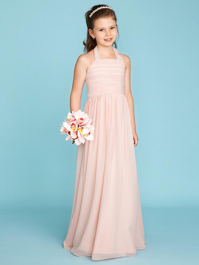 A-Line / Princess Halter Neck Floor Length Chiffon Junior Bridesmaid Dress with Ruched / Pleats
