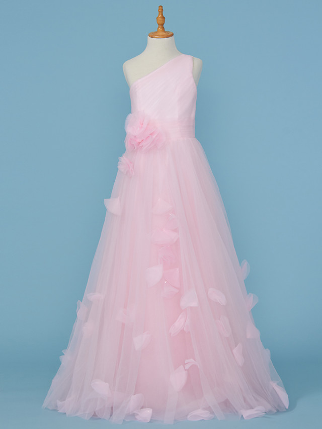 Princess / A-Line One Shoulder Floor Length Tulle Junior Bridesmaid Dress with Pleats / Appliques / Flower