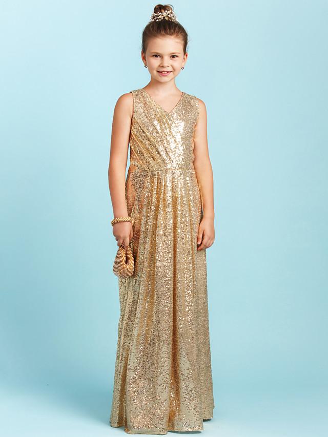 A-Line / Princess V Neck Floor Length Sequined Junior Bridesmaid Dress with Sequin / Pleats