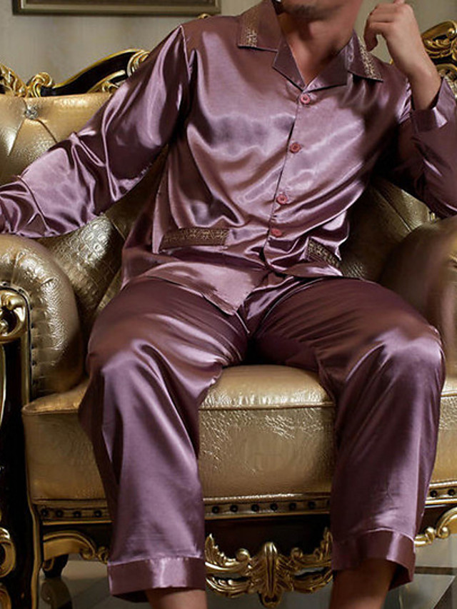 Homens Colarinho de Camisa Conjunto Pijamas Sólido
