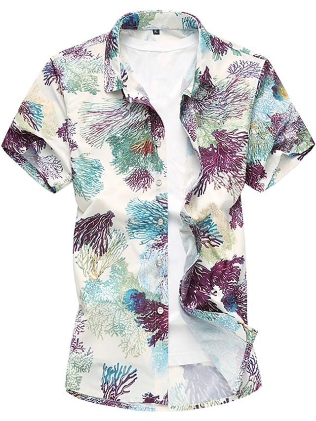 Men's Floral Shirt - Cotton Daily Blue / Green / Spring / Summer / Short Sleeve