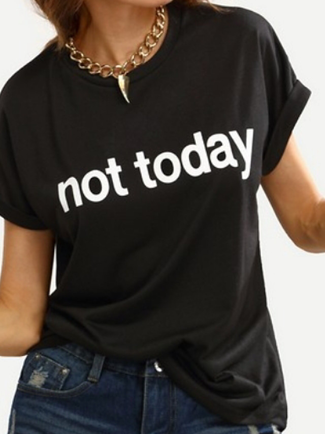 Women's Letter T-shirt Short Sleeve Daily Loose Tops Black