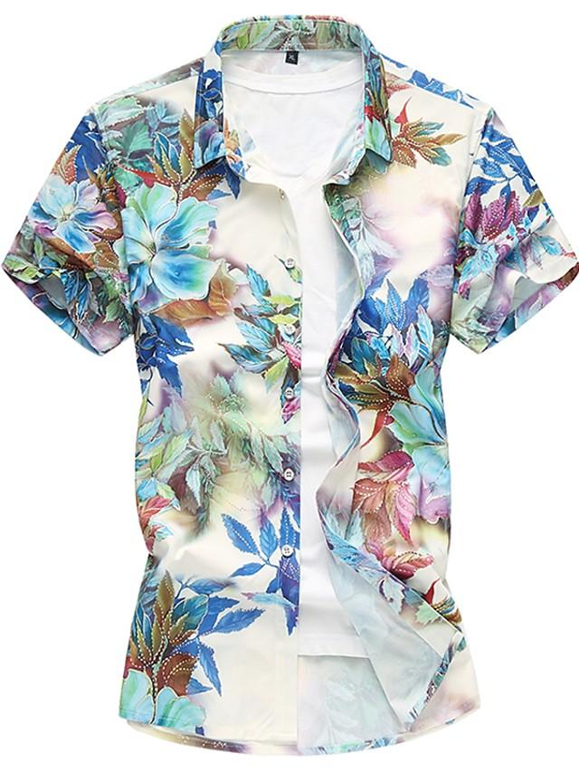 Men's Shirt Floral Short Sleeve Daily Tops Blue Purple