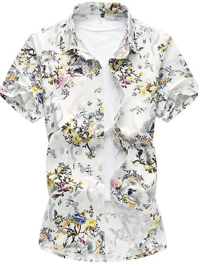 Men's Street chic Shirt - Floral / Short Sleeve