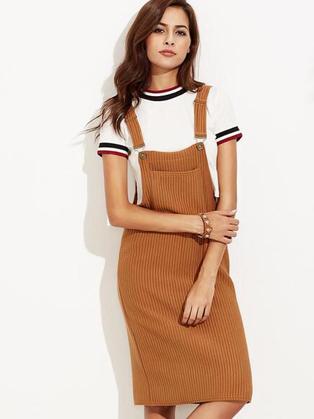 Women's Daily Slim Bodycon Dress - Solid Colored Pleated Spring Cotton Black Khaki M L XL