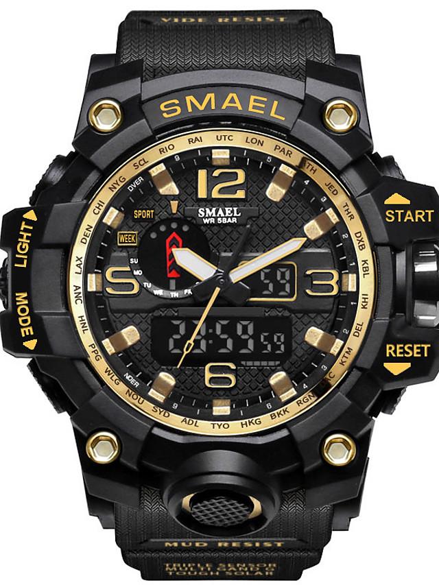 SMAEL Hombre Reloj Deportivo Reloj Militar Analógico-Digital Casual Resistente al Agua Calendario Cronógrafo / Cuero Sintético Acolchado / Silicona / Japonés