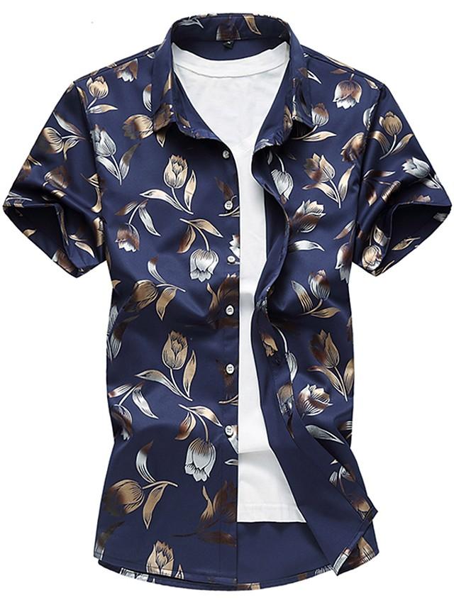 Men's Floral Slim Shirt - Cotton Daily White / Black / Navy Blue / Light Blue / Spring / Summer / Short Sleeve