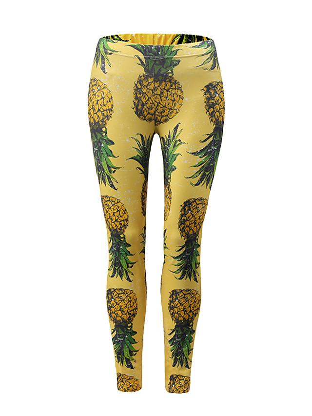Women's Sporty / Basic Legging - Color Block, Print Mid Waist Yellow S M L