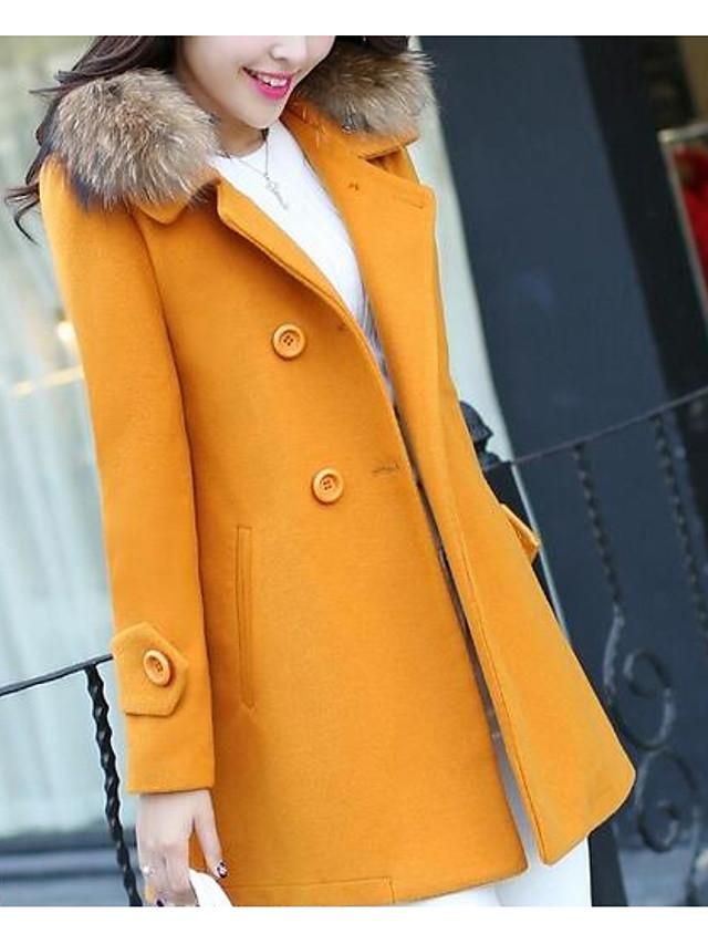 Women's Daily Basic Winter Plus Size Long Coat, Solid Colored Notch Lapel Long Sleeve Cotton / Acrylic / Polyester Fur Trim Black / Fuchsia / Yellow
