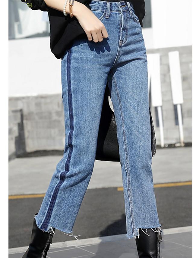Mujer Alta Cintura Algodon Corte Ancho Ajustado A La Bota Vaqueros Pantalones Un Color 6589080 2021 20 89